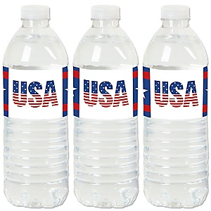 Stars & Stripes - Patriotic Water Bottle Sticker Labels - Set of 20