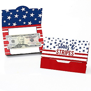 Stars & Stripes - Patriotic Party Money And Gift Card Holders - Labor Day Party Decoration Idea - Set of 8