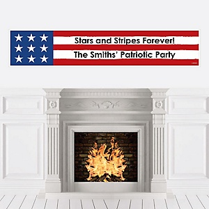 Stars & Stripes - Personalized Memorial Day Patriotic Party Banner