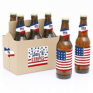 Stars & Stripes - Patriotic Memorial Day Party - Decorations for Women and Men - 6 Beer Bottle Label Stickers 1 Carrier