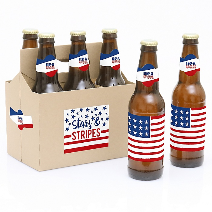 Stars & Stripes - Patriotic Labor Day Party - Decorations for Women and Men - 6 Beer Bottle Label Stickers 1 Carrier