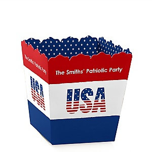 Stars & Stripes -  Memorial Day Party Mini Favor Boxes - Personalized Patriotic Party Treat Candy Boxes - Set of 12