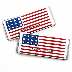 Stars & Stripes - Personalized  Memorial Day Candy Bar Wrapper Patriotic Party Favors - Set of 24