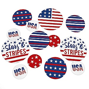 Stars & Stripes - Patriotic Party Giant Circle Confetti - Memorial Day Party Decorations - Large Confetti 27 Count