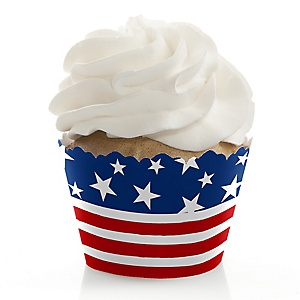 Stars & Stripes - Patriotic Party Decorations - Labor Day Party Cupcake Wrappers - Set of 12