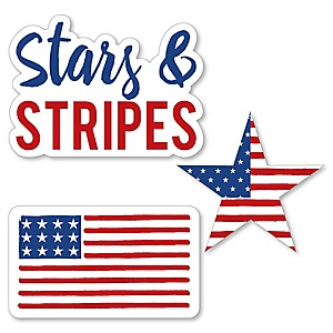 Stars & Stripes - DIY Shaped Patriotic Memorial Day Party Paper Cut-Outs - 24 ct