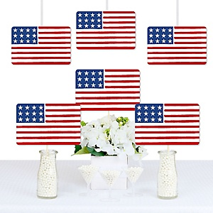 Stars & Stripes - Memorial Day Decorations DIY Patriotic Party Essentials - Set of 20