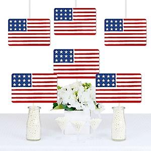 Stars & Stripes -  Memorial Day Decorations DIY Patriotic Party Essentials - Set of 20