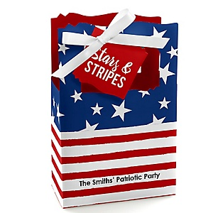 Stars & Stripes - Personalized Patriotic  Labor Day Party Favor Boxes - Set of 12