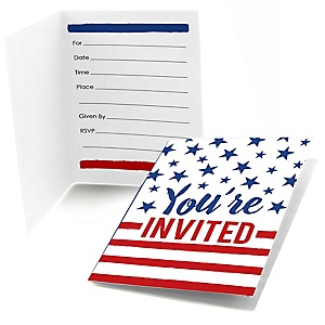 Stars & Stripes -  Memorial Day Fill In Patriotic Party Invitations - 8 ct
