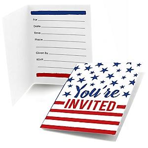 Stars & Stripes -  Labor Day Fill In Patriotic Party Invitations - 8 ct