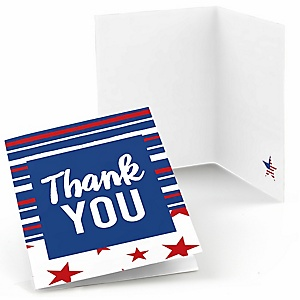 Stars & Stripes - Patriotic Memorial Day Party Thank You Cards - 8 ct