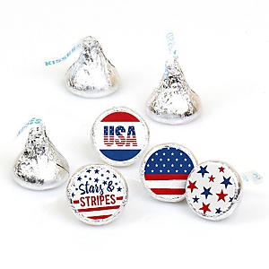 Stars & Stripes - Round Candy Labels Patriotic Memorial Day Party Favors - Fits Hershey's Kisses - 108 ct