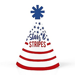 Stars & Stripes - Personalized Mini Cone Patriotic Memorial  Day Party Hats - Small Little Party Hats - Set of 10
