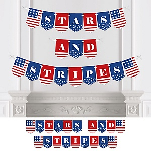 Stars & Stripes - Personalized Patriotic Memorial Day Party Bunting Banner & Decorations