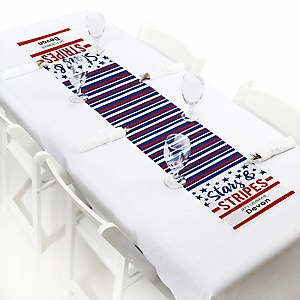 """Stars & Stripes - Personalized Petite Patriotic Party Paper Table Runner -  Labor Day Party Decoration - 12"""" x 60"""""""