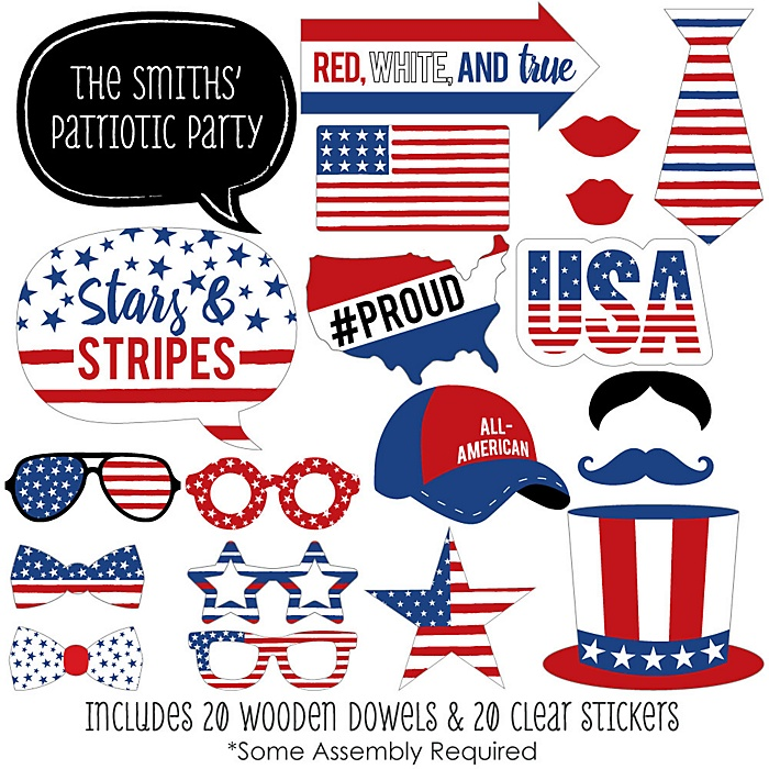 Stars & Stripes - 20 Piece Patriotic Labor Day USA Party Photo Booth Props Kit