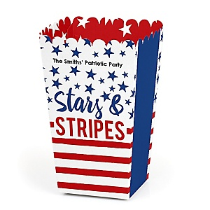 Stars & Stripes - Personalized Memorial Day Patriotic Party Popcorn Favor Treat Boxes - Set of 12