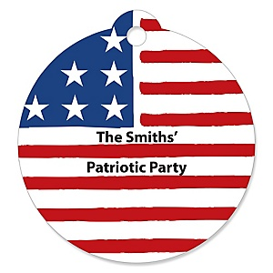 Stars & Stripes - Personalized Patriotic Labor Day Party Favor Gift Tags - 20 ct