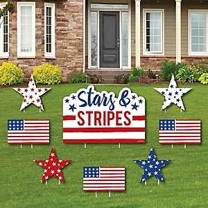 Stars & Stripes - Memorial Day Yard Sign & Outdoor Lawn Decorations - Patriotic Party Yard Signs - Set of 8