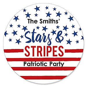 Stars & Stripes - Round Personalized  Memorial Day Patriotic Party Sticker Labels - 24 ct