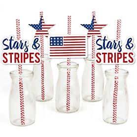 Stars & Stripes - Paper Straw Decor - Patriotic Memorial Day Party Striped Decorative Straws - Set of 24
