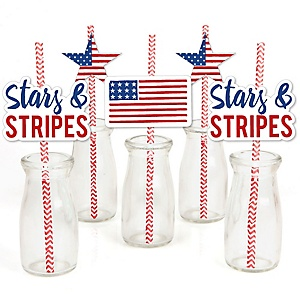 Stars & Stripes - Paper Straw Decor - Patriotic  Memorial Day Party Striped Decorative Straws - Set of 24