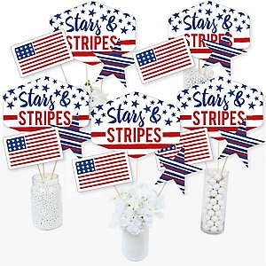 Stars & Stripes - Patriotic Centerpiece Sticks - Table Toppers - Set of 15