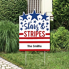 Stars & Stripes - Memorial Day Party Decorations - Personalized Patriotic Party Yard Sign