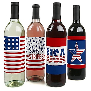 Stars & Stripes - Patriotic Labor Day Party Decorations for Women and Men - Wine Bottle Labels - Set of 4