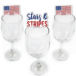 Stars & Stripes - Shaped Patriotic Party Wine Glass Markers -  Memorial Day Party Decorations - Set of 24