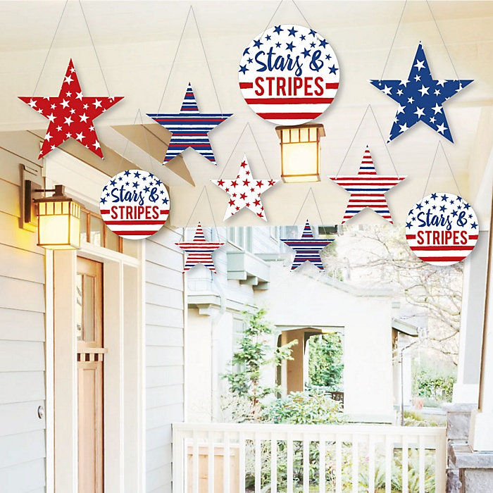 Hanging Stars Stripes Outdoor Patriotic Memorial Day Party Hanging Porch Tree Yard Decorations 10 Pieces