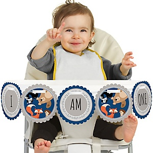 Stay Wild - Forest Animals 1st Birthday - I am One - First Birthday High Chair Banner