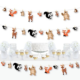 Stay Wild - Forest Animals - Woodland Baby Shower or Birthday Party DIY Decorations - Clothespin Garland Banner - 44 Pieces