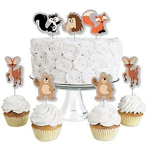 Stay Wild - Forest Animals - Dessert Cupcake Toppers - Woodland Baby Shower or Birthday Party Clear Treat Picks - Set of 24