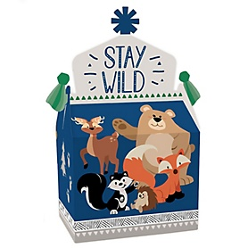 Stay Wild - Forest Animals - Treat Box Party Favors - Woodland Baby Shower or Birthday Party Goodie Gable Boxes - Set of 12