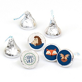Stay Wild - Forest Animals - Woodland Baby Shower or Birthday Party Round Candy Sticker Favors - Labels Fit Hershey's Kisses - 108 ct
