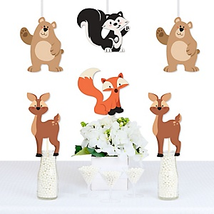 Stay Wild - Forest Animals - - Bear, Deer, Skunk and Fox Decorations DIY Woodland Baby Shower or Birthday Party Essentials - Set of 20
