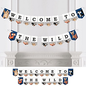 Stay Wild - Forest Animals - Woodland Baby Shower or Birthday Party Bunting Banner - Party Decorations - Welcome to the Wild