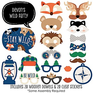 Stay Wild - Forest Animals - 20 Piece Woodland Baby Shower or Birthday Party Photo Booth Props Kit