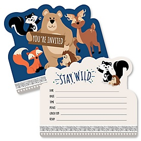 Stay Wild - Forest Animals - Shaped Fill-In Invitations - Woodland Baby Shower or Birthday Party Invitation Cards with Envelopes - Set of 12
