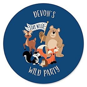 Stay Wild - Forest Animals - Personalized Woodland Baby Shower or Birthday Party Sticker Labels - 24 ct