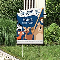 stay wild forest animals party decorations woodland baby shower or birthday party personalized welcome yard sign