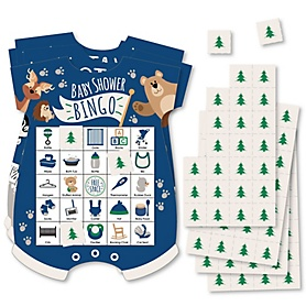Stay Wild - Forest Animals - Picture Bingo Cards and Markers - Woodland Baby Shower Shaped Bingo Game - Set of 18