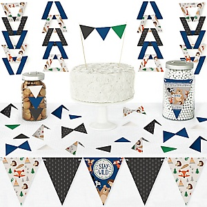 Stay Wild - Forest Animals - DIY Pennant Banner Decorations - Woodland Baby Shower or Birthday Party Triangle Kit - 99 Pieces