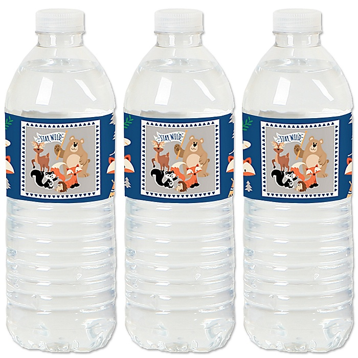 Stay Wild - Forest Animals - Woodland - Party Water Bottle Sticker Labels - Set of 20