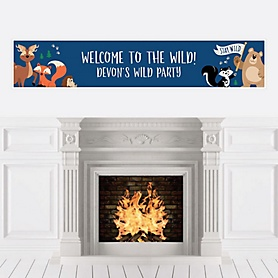 Stay Wild - Forest Animals - Personalized Woodland Baby Shower or Birthday Party Banner