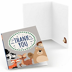 Stay Wild - Forest Animals - Woodland Baby Shower or Birthday Party Thank You Cards  - 8 ct
