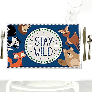 Stay Wild - Forest Animals - Woodland - Party Table Decorations - Party Placemats - Set of 12