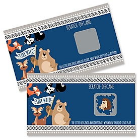 Stay Wild - Forest Animals - Woodland Baby Shower or Birthday Party Game Scratch Off Cards - 22 ct